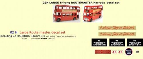 "02H LARGE Tri-ang Triang ROUTEMASTER Bus "" HARRODS "" Paper and White decal set"
